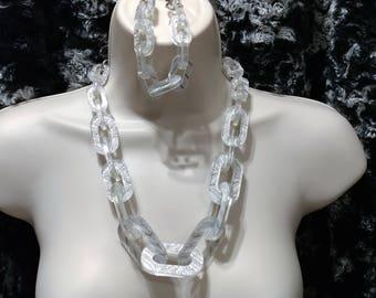 Silver Encased Lucite, Chain Link,Necklace and Bracelet Set