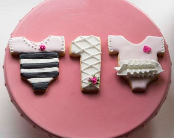 Black and pink onesie cookies