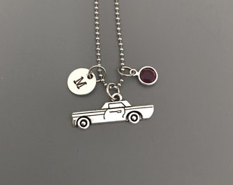 Car Necklace-Vintage Car Jewelry-Personalized Jewelry-Silver Car Necklace-Hand Stamped Jewelry