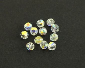 6mm Swarovski Crystallized Elements Faceted Round Beads, Crystal AB, Set of 12