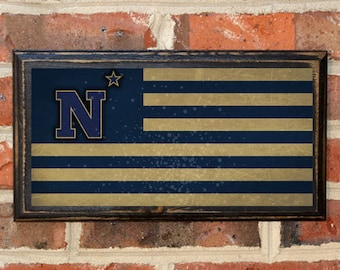 US Navy Flag Midshipmen Army Navy Game N Star LogoWall Art Sign Plaque Gift Present Home Decor Vintage USNA Sailor Naval Academy Antique