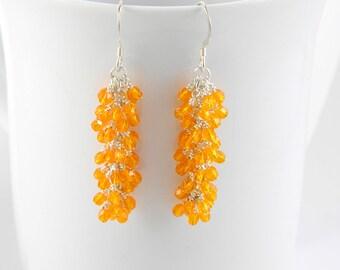 Long Orange Cascade Dangle Earrings with Sterling Silver Ear Wires