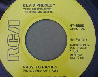 """Vintage Elvis Presley 45 Vinyl Record - """"Rags To Riches"""" and """"Where Did They Go, Lord"""" 1970s Elvis Collectible"""