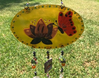 Butterfly and Flower Fused Glass Windchime