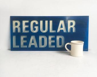 "Vintage 26"" X 12"" Plexiglass Gas Station Sign - ""Regular Leaded"" - Back-Lit Sign, Petroliana, Coffee Sign, Man Cave Decor"
