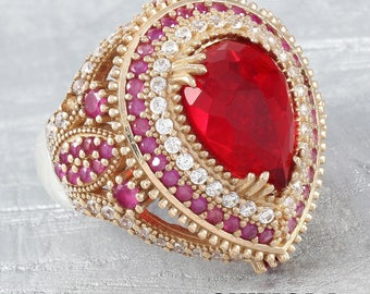 Pear Cut Red Zircon Stone 925 Sterling Silver And Bronze Ottoman Handmade Ring(n48-1)