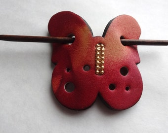 Leather Butterfly Ponytail Holder Barrette