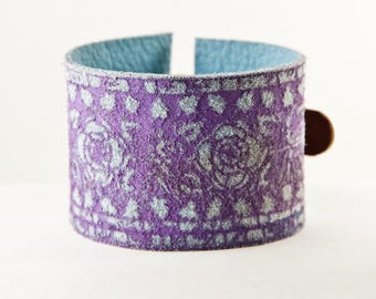 Purple Bracelet Floral Jewelry Metal Buckle Cuff