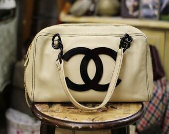 SALE Pre Owned Chanel Beige Bowler Bag With Plastic Black CC Logo Playful