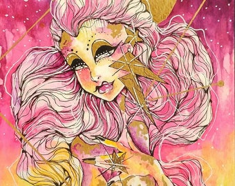 Sunset Space Queen Alien Watercolor Mixed Media Illustration