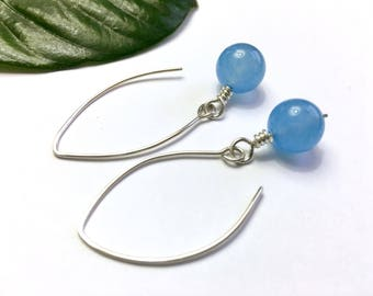 Sterling Silver Earrings Gemstone Earrings Sky Blue Earrings Gift for Her Girlfriend Birthday Gift Mom Gift Sister Wife Gift Modern Earrings