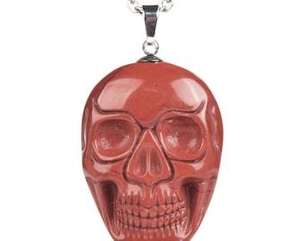 34-36mm Red jasper carved skull pendant focal bead (pendant only)