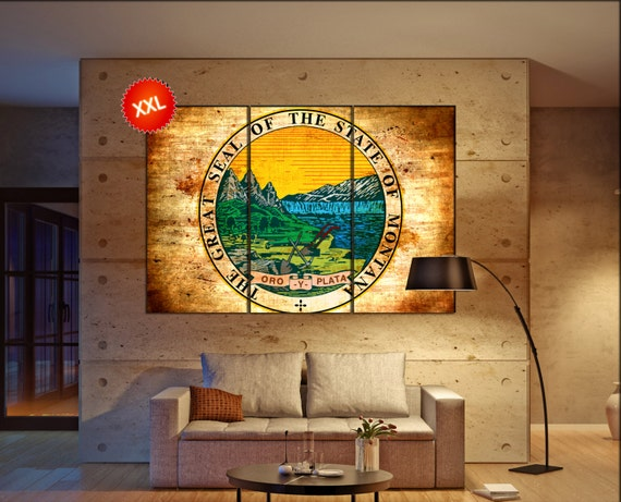 montana seal flag  canvas montana seal flag wall decoration montana seal flag canvas art montana seal flag large canvas