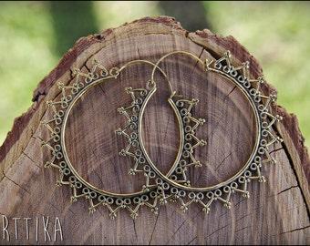 Brass hoops. Brass Hoop Earrings. Ethnic style. Tribal. Boho Jewelry. Tribal earrings. Boho. Brass Earrings