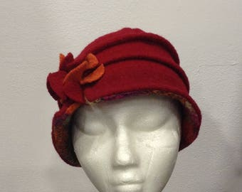 Red and orange fuschia wool hat