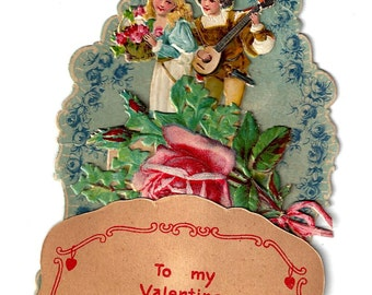 Vintage To My Valentine Dimensional German Valentine Card, 1920s
