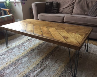 Reclaimed Wood Coffee Table with Herringbone Design & Hairpin Legs