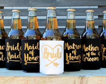 Bride Tribe Can Coolers, Bachelorette Party Favors, Maid of Honor, Bridesmaid Proposal gift, Ask Bridesmaid, Black with gold, Favors