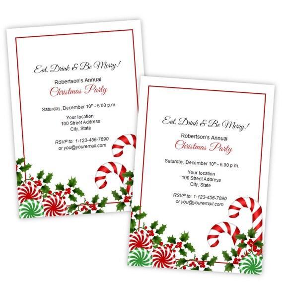 Artículos similares a Navidad o día de fiesta invitación fiesta ...
