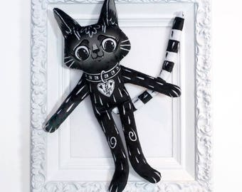 Black Cat BFF - an illustrated best friend doll made from soft black and white minky fabric