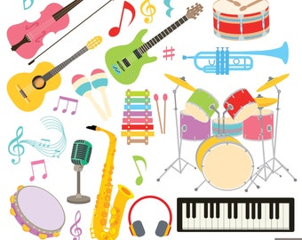 Musical Instruments Digital Clipart, Guitar Clipart , Violin Clipart, Drum Clipart
