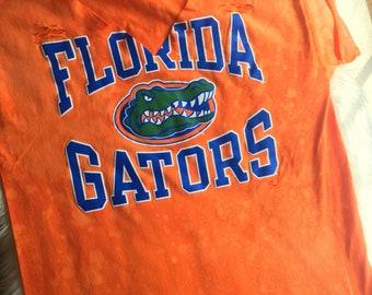 University of Florida Gators Orange Blue Choker Tee Bleached Distressed Womens Adult Size Large