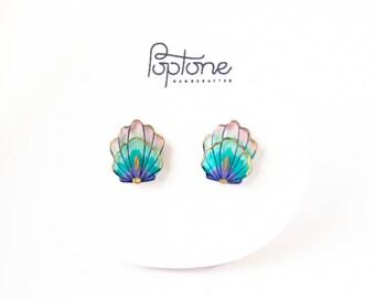 Mermaid Shell Earrings, Mermaid gift, mermaid scale stud earrings, beach jewelry, mermaid style, little mermaid gift