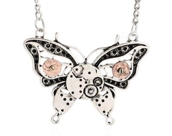 Steampunk Style Butterfly Pendant Necklace