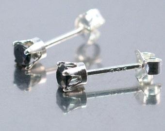 Black Spinel Earring, Faceted 3mm Spinel, Sterling Silver Stud, Black Stud Earrings, Tiny Black Earrings, Mini Stud Earrings