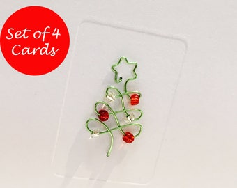 Christmas Card Set - Pack of 4 Christmas Tree Cards - Wire Christmas Tree with bead baubles - Handmade Greeting Cards - Holiday Cards