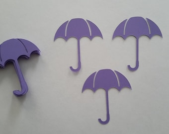 Small Umbrella Die Cuts - Card die cuts - Purple umbrellas - Baby shower decor - Shower table confetti - Scrapbook - Paper die cuts