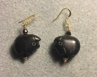 Black onyx gemstone pig bead earrings adorned with black Chinese crystal beads.