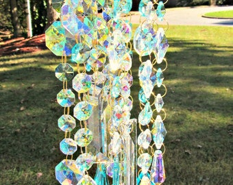 Aqua Crystal Wind Chime, Gift for Her,  Crystal Chime,  AB Crystal Wind Chime,  Crystal Sun Catcher, Wind Chime, Glass Windchime, MWC173