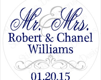 PERSONALIZED WEDDING STICKERS - Mr and Mrs Monogrammed Labels - Round Gloss Labels