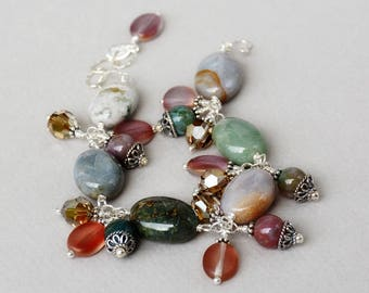 Ocean Jasper Gemstone, Crystal and Sterling Bracelet - Ocean Jasper Bracelet - Happy Shack Designs - Handmade in America