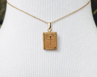 Gold Filled Bible Locket ~ NIB ~ Vintage Locket ~ Small Locket ~ New in Box ~ NBJ3329b