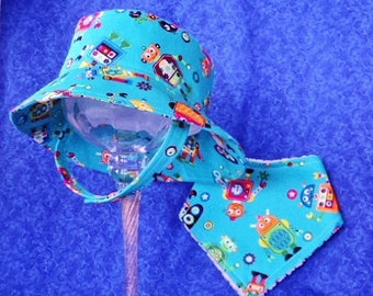Baby Boy Bucket Hat Teal with Monsters Chin Straps and Snaps with Bandana Bib Set