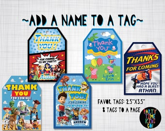 Custom Favor Tags Add a Name to an Existing Favor Tag Design from PartyTimeKidsCo - Digital File Supplied