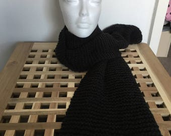 CLEARANCE Ready to ship Charcoal handknitted scarf Woman or Mans
