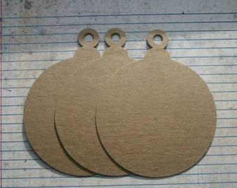 "3 Large round ornament bare chipboard die cuts 4"" wide x 5"" tall"