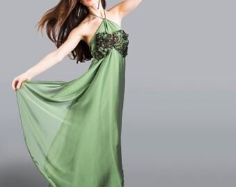 Green Dress. Fairy Dress. Green Fairy Dress. Bridal Women Dress. Long Green Dress. Feather Dress.  Halloween costume fairy