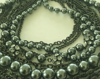 Multi Strand Black Pearl Black BIB Necklace