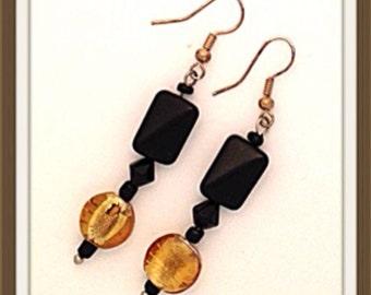 Handmade MWL black and gold venetian glass dangle earrings. 0116