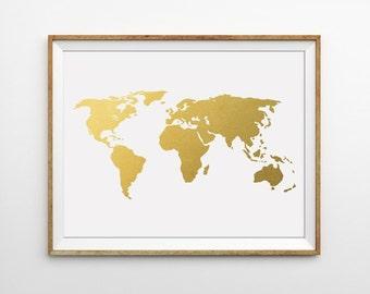 Gray world map print gold world map art grey map art gold gold world map print world map art faux gold foil map wanderlust print travel print minimal print modern office print office art gumiabroncs Gallery