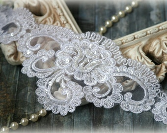 Wide White  Alencon Trim with Pearls, Beads, and Sequins, Beaded Trim for l Gowns, Veils, Couture Gowns, Sashes, Crafting, , GL-164