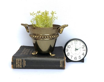 Vintage FOOTED BRASS PLANTER