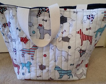 Dogs Quilted Hold All Tote Bag (White/Blue/Red)