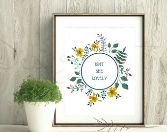 Nursery Floral Wall Art, Printable Wall Art Nursery, Nursery Quote Printable Boho, Baby Girl Nursery Decor Printable, Isn't She Lovely