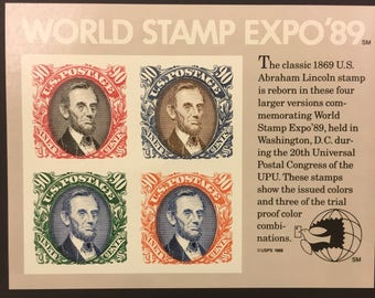 Abe Lincoln Souvenir Sheet - postage stamps - collectible stamps
