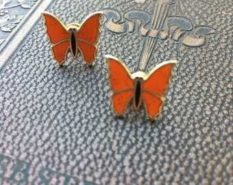 BUTTERFLY Enamel Stud Post Pierced Earrings Orange